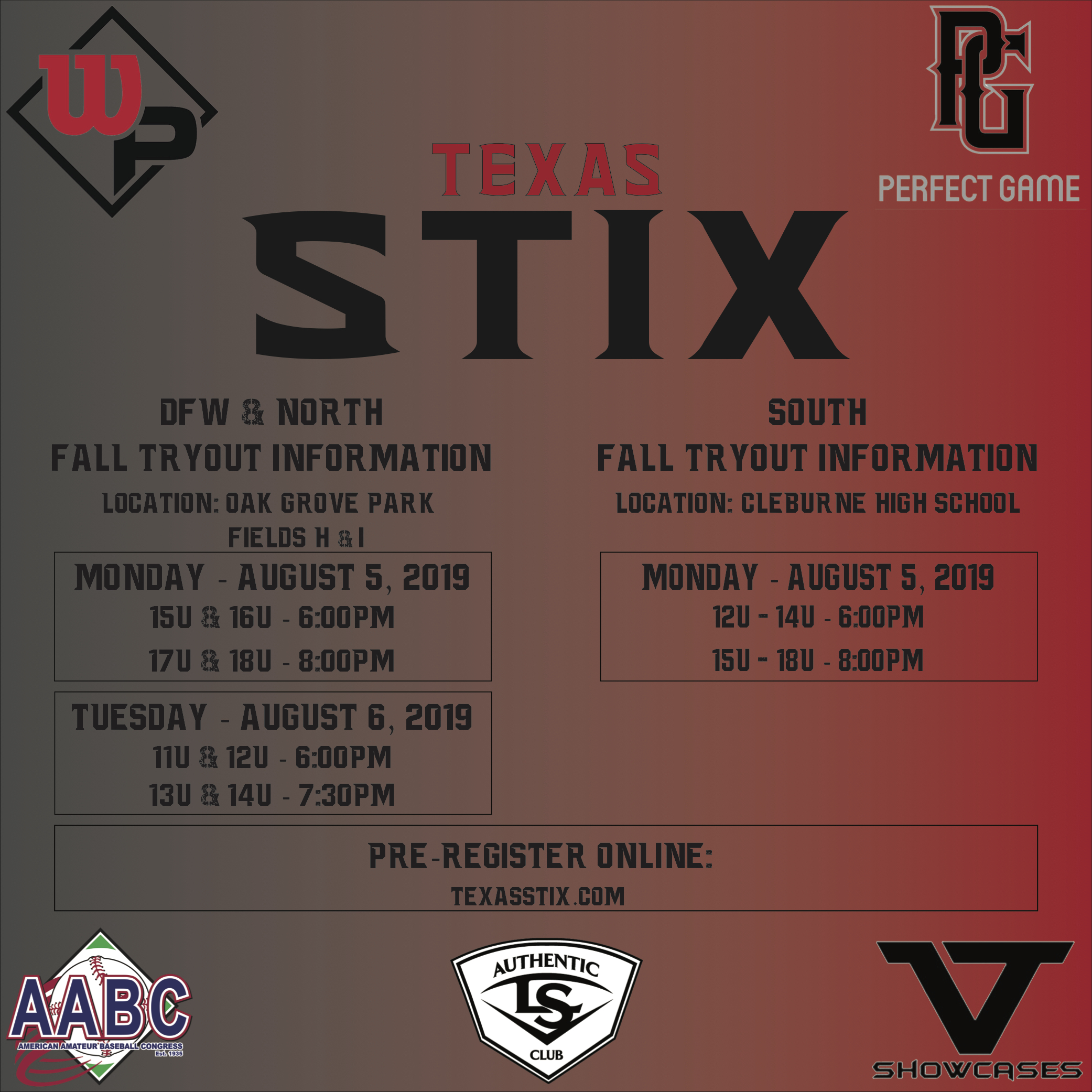 Texas Stix Baseball Tryouts - Fall 2019